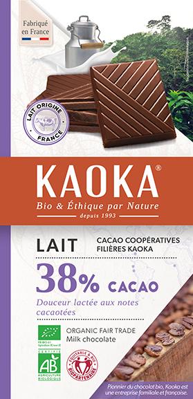 Tablette de chocolat au lait bio equitable Kaoka