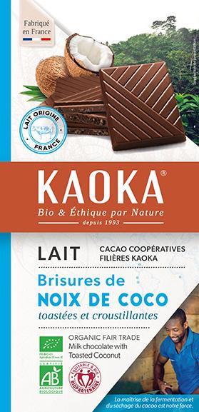 Tablette de chocolat au lait à la noix de coco bio equitable Kaoka