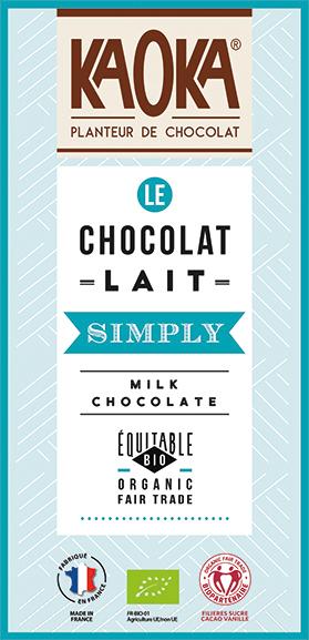 Tablette de chocolat au lait simply bio equitable Kaoka