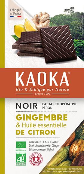 Chocolat noir gingembre et huile essentielle de citron