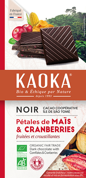 Tablette de chocolat noir pétales de mais et cranberries bio equitable Kaoka