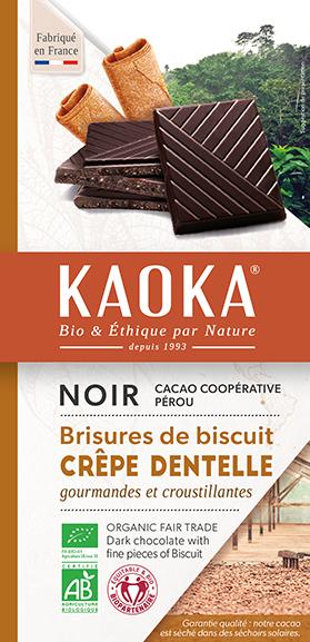 Tablette de chocolat noir crepe dentelle bio equitable kaoka