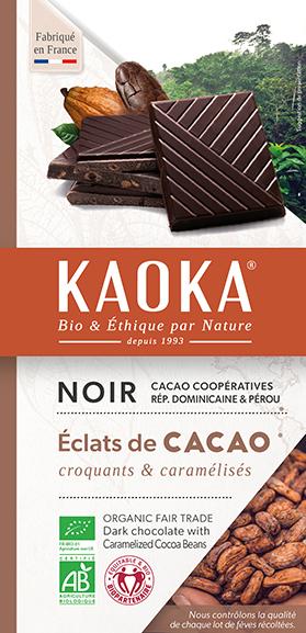 Chocolat noir eclats feves bio equitable KAOKA