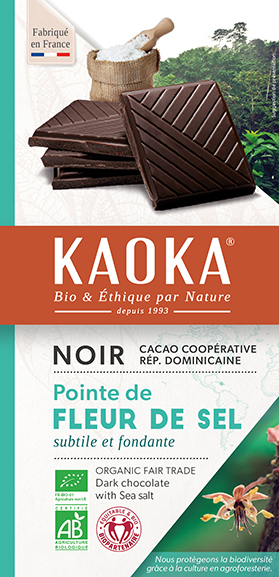 Tablette de chocolat noir à la fleur de sel bio équitable Kaoka