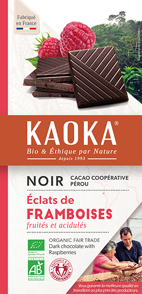 Tablette de chocolat noir aux framboises bio équitable Kaoka
