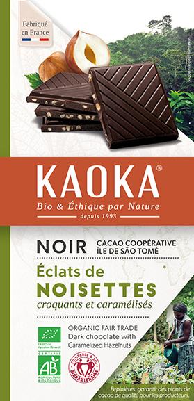 Chocolat noir aux éclats de noisettes bio équitable Kaoka