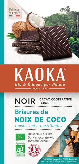 Tablette de chocolat noir à la noix de coco bio equitable Kaoka
