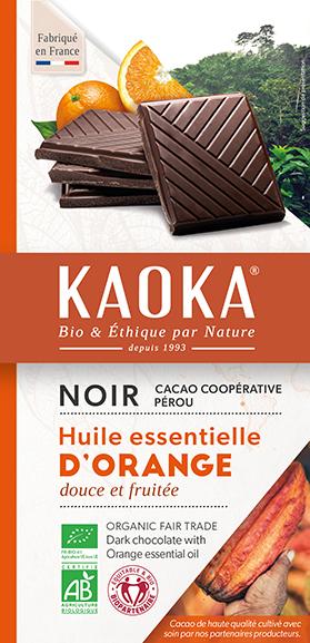 Tablette de chocolat noir orange bio equitable Kaoka