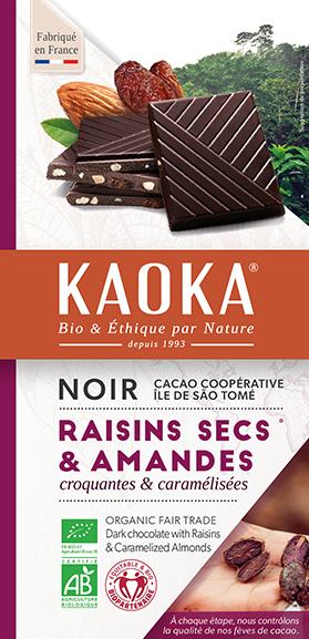 Tablette de chocolat noir aux raisins & amandes bio equitable Kaoka