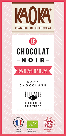 chocolat noir bio équitable simply