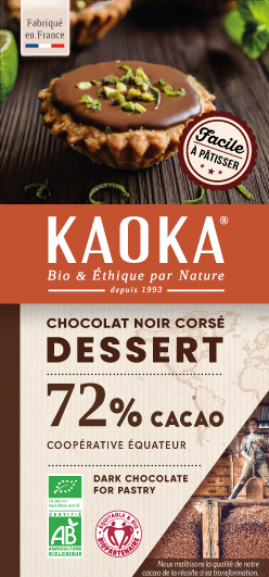 Chocolat Noir Dessert 72% cacao bio équitable Kaoka