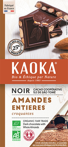 Tablette gourmande noir amandes entieres chocolat bio equitable kaoka