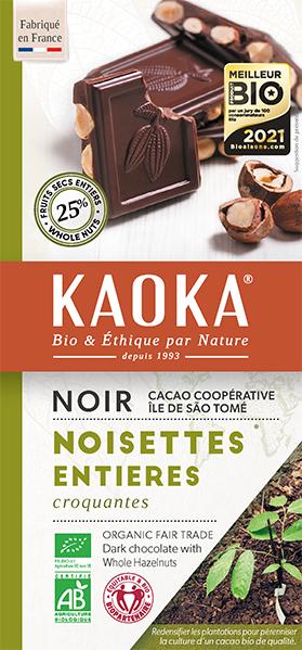 Tablette gourmande noir noisettes entieres chocolat bio equitable kaoka
