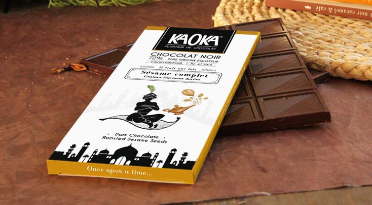 Gamme de tablettes gourmet chocolat bio équitable kaoka